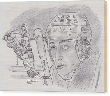 Wood Print featuring the drawing Wayne Gretzky-the Great One by Chris  DelVecchio