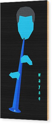 Wayne Shorter Blue Wood Print by Victor Bailey