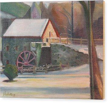 Wayside Inn Mill Wood Print by Sid Solomon