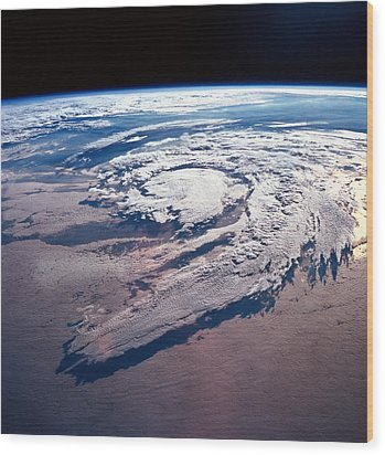 Weather Systems Above Earth Wood Print by Stockbyte