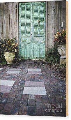 Weathered Green Door Wood Print by Sam Bloomberg-rissman