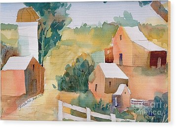 Wood Print featuring the painting Webster Barn by Yolanda Koh