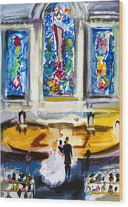 Wedding Day At Second Presbyterian Church Charleston Sc Wood Print by Ginette Callaway