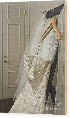 Wedding Dress Wood Print by Ned Frisk