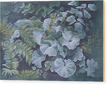 Wood Print featuring the painting Weeping Ladies Mantle by Patsy Sharpe