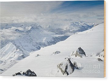 Weissfluhgipfel Summit View From The Summit Across Davos Wood Print by Andy Smy