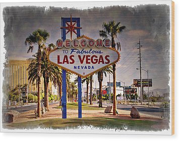 Welcome To Las Vegas Sign Series Impressions Wood Print by Ricky Barnard