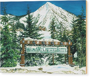 Welcome To The Mountain Wood Print by Barbara Jewell