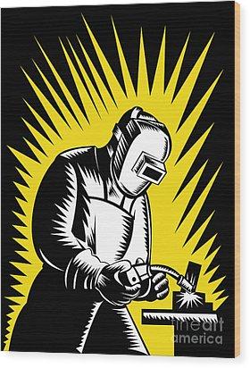 Welder Metal Worker Welding Retro  Wood Print by Aloysius Patrimonio
