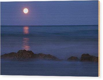 Wells Beach Maine Moonrise Wood Print