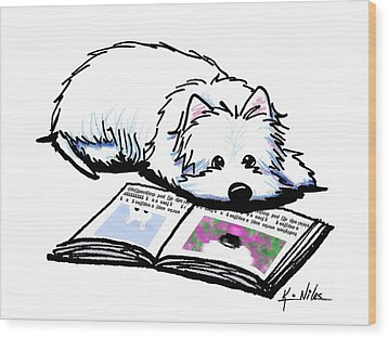 Wendell Loves Books Wood Print by Kim Niles