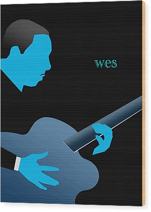 Wes Montgomery Blue Wood Print by Victor Bailey