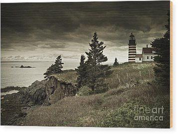 Wood Print featuring the photograph West Quoddy Head Lighthouse by Alana Ranney