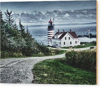 Wood Print featuring the photograph West Quoddy Lighthouse by Kelly Reber