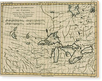 Western Canada And The Five Great Lakes Wood Print by Guillaume Raynal