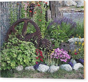 Western Garden Wood Print by Anne Raczkowski
