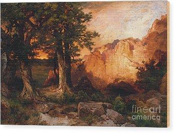 Western Sunset Wood Print by Thomas Moran