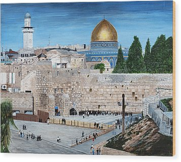 Wood Print featuring the painting Western Wall by Stuart B Yaeger