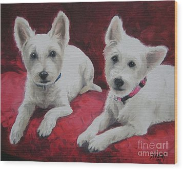 Wood Print featuring the painting Westies by Jindra Noewi