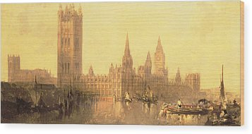 Westminster Houses Of Parliament Wood Print by David Roberts