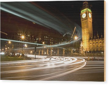 Westminster Lights Wood Print by Copyright Michael Spry