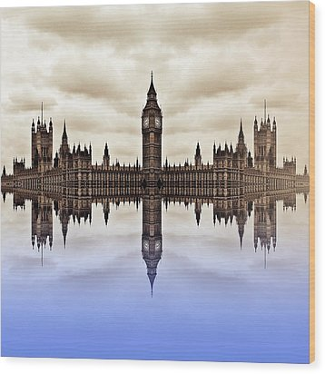 Westminster On Water Wood Print by Sharon Lisa Clarke