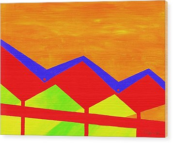 Wexler Folded Roof Four Wood Print by Randall Weidner
