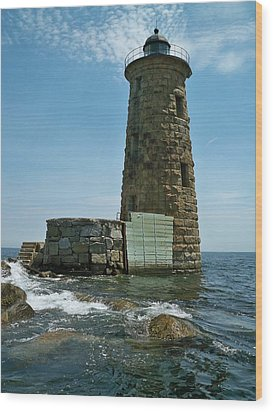 Wood Print featuring the photograph Whaleback Light by Rick Frost