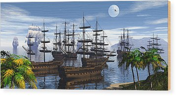 Whaling Off Lahaina 2 Wood Print by Claude McCoy