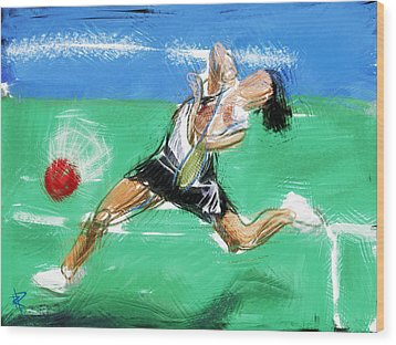 What A Racket Wood Print by Russell Pierce