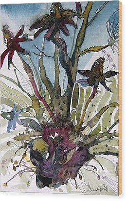 Whats In Your Garden Wood Print by Mindy Newman