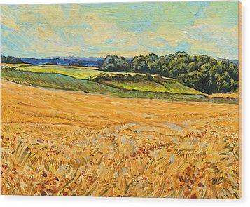 Wheat Field In Limburg Wood Print by Nop Briex