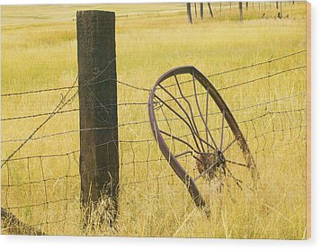 Wheel Looking For A Tractor Wood Print by Rich Franco
