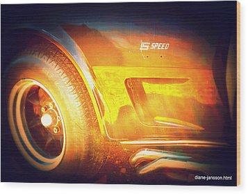 Wheel On Fire Wood Print by Diane montana Jansson