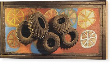 Wood Print featuring the painting Wheels by Krista Ouellette