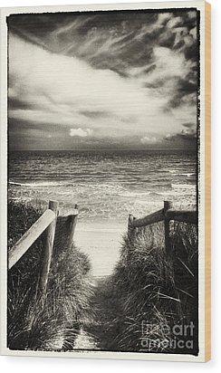 When I Was A Child - Sepia Wood Print by Hideaki Sakurai