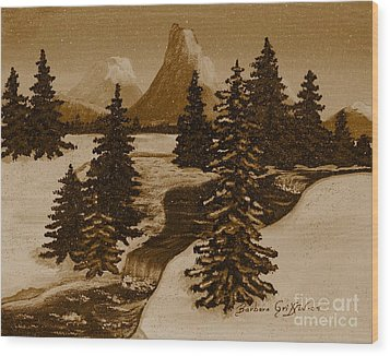 When It Snowed In The Mountains Wood Print by Barbara Griffin