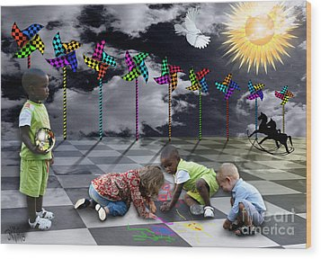 Wood Print featuring the digital art Where Do The Children Play? by Rosa Cobos