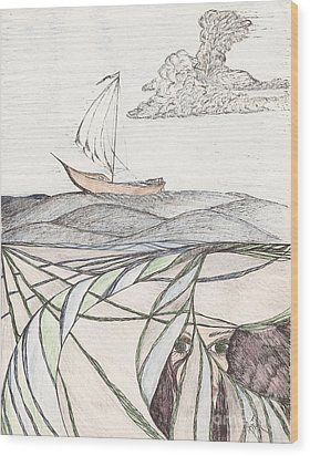Where The Deep Currents Run... - Sketch Wood Print by Robert Meszaros