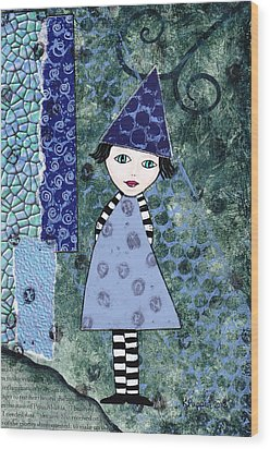 Whimsical Blue Girl Mixed Media Collage  Wood Print by Karen Pappert
