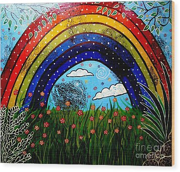 Whimsical Painting-whimsical Rainbow Wood Print by Priyanka Rastogi
