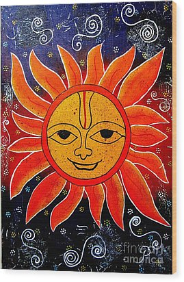 Whimsical Painting-whimsical Sun God Wood Print by Priyanka Rastogi