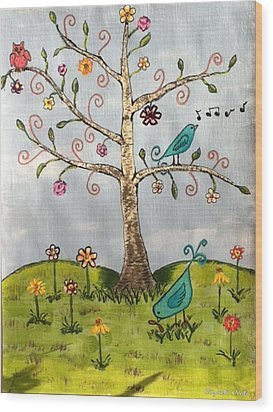 Wood Print featuring the painting Whimsical Tree by Elizabeth Coats
