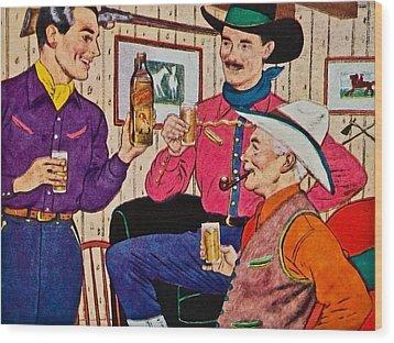 Whiskey Advertisement Wood Print by Susan Leggett