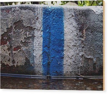 Whit Blue Curb Wood Print by Ludmil Dimitrov