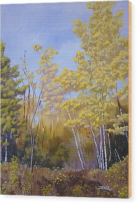 Wood Print featuring the painting White Bark Yellow Leaves by Robert Decker