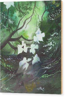 White Begonia Wood Print by Anil Nene