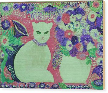 White Cat With Flowers All Around Wood Print by Anne-Elizabeth Whiteway