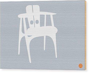 White Chair Wood Print by Naxart Studio