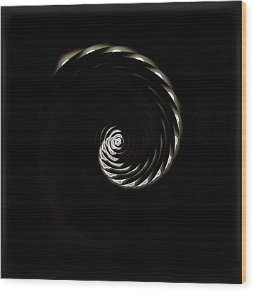 White Cherry Blossom Spiral 01 Wood Print by Li   van Saathoff